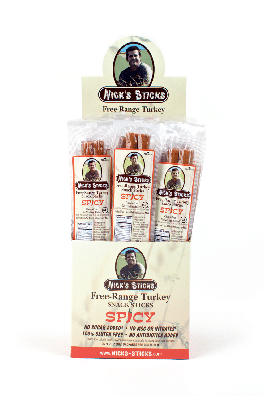 Spicy Turkey - Nick's Sticks - Nick makes snack sticks that start with 100% grass-fed beef and free-range turkey. Next comes a dash of organic seasoned salt, blended into his proprietary recipe. The result…the cleanest and best-tasting snack sticks you can find. #paleo #certifiedpaleo #ketocertified