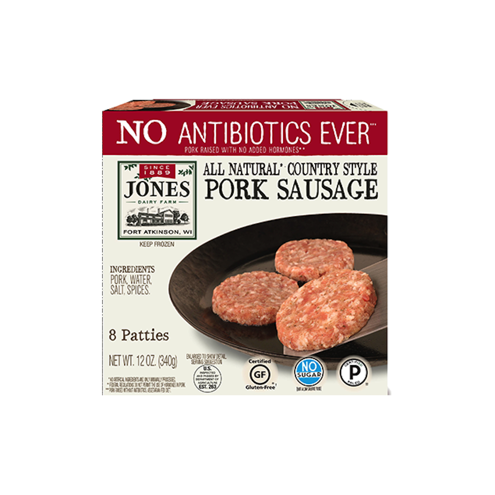 Antibiotic Free Country Style Pork Sausage Patties - Jones Dairy Farm - Certified Paleo by the Paleo Foundation