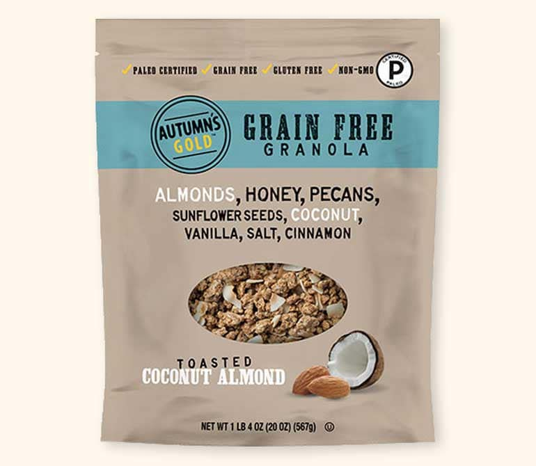 Grain Free Toasted Coconut Almond Granola - Autumn's Gold - Certified Paleo by the Paleo Foundation