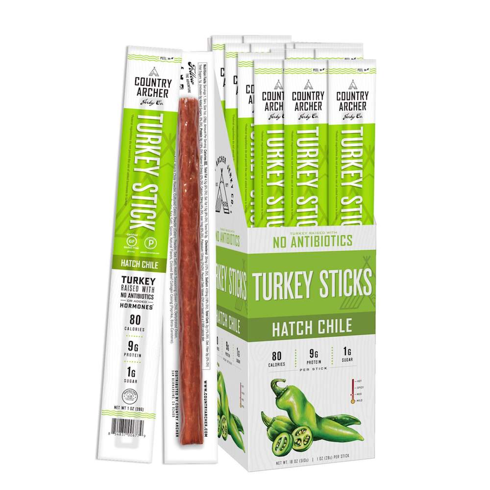 Hatch Chile Turkey Stick - Country Archer Jerky Co. - Certified Paleo Friendly, Keto Certified by the Paleo Foundation