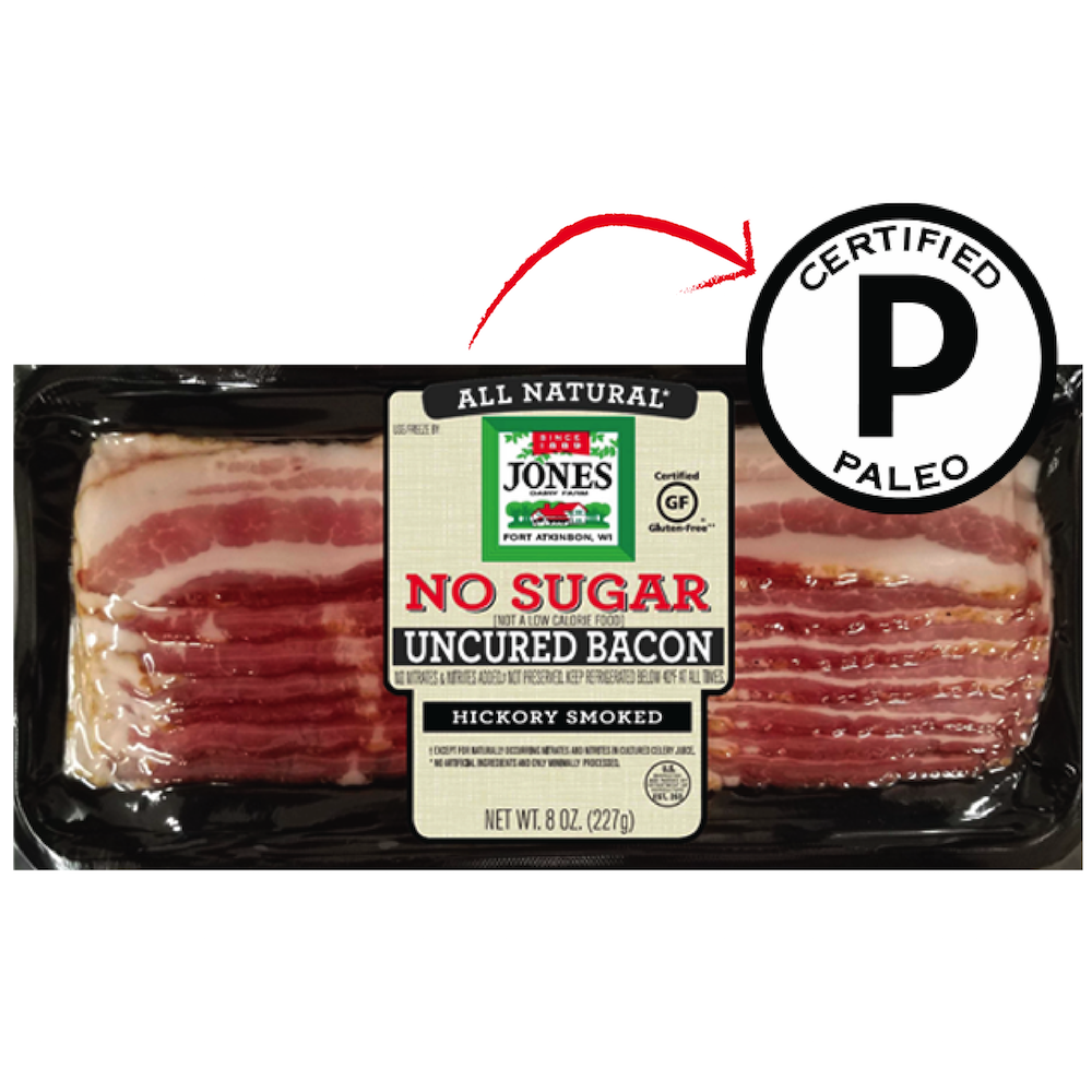 No Sugar Hickory Smoked Bacon Slices - Jones Dairy Farm - Certified Paleo by the Paleo Foundation