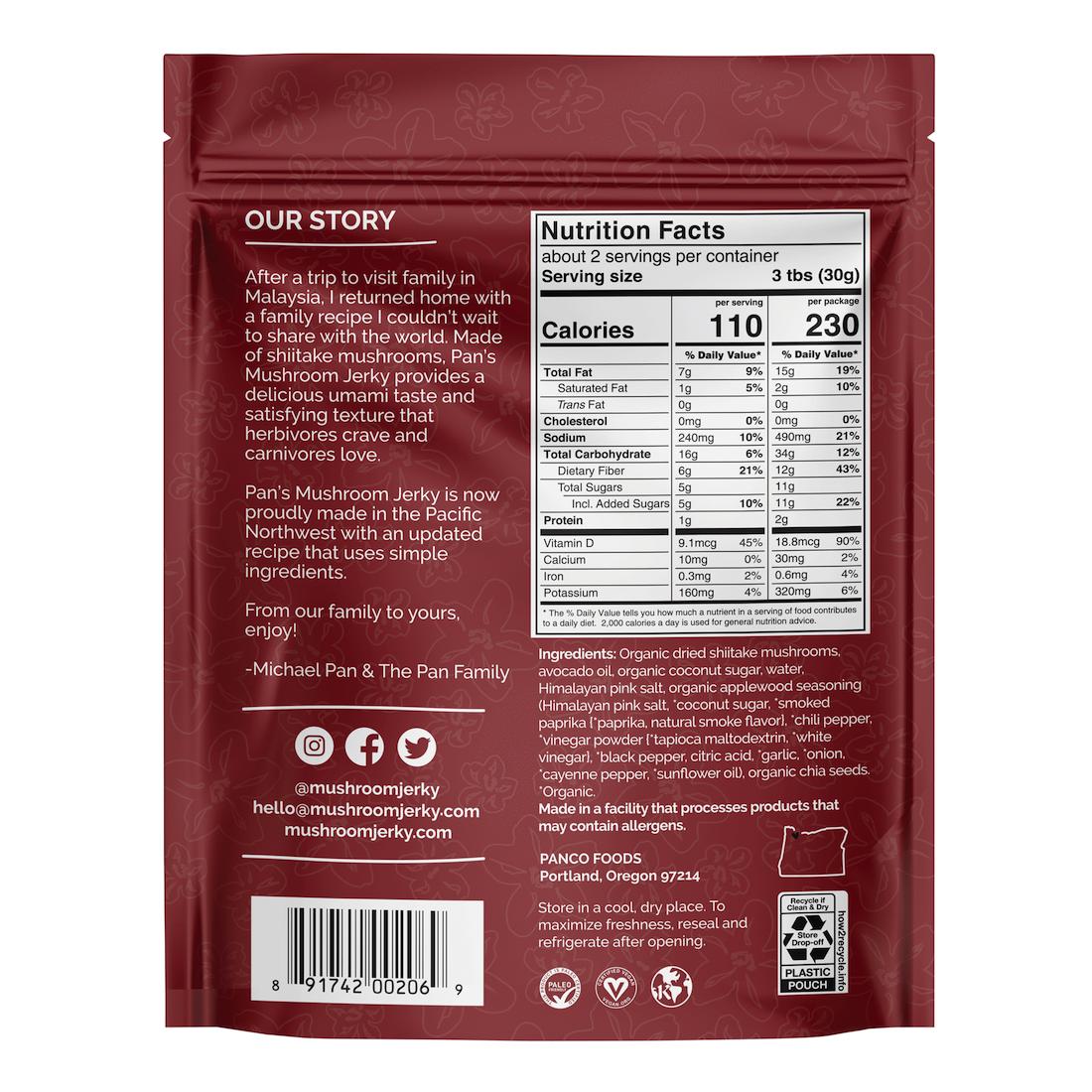 Applewood BBQ - Pan's Mushroom Jerky - Certified Paleo Friendly, PaleoVegan by the Paleo Foundation
