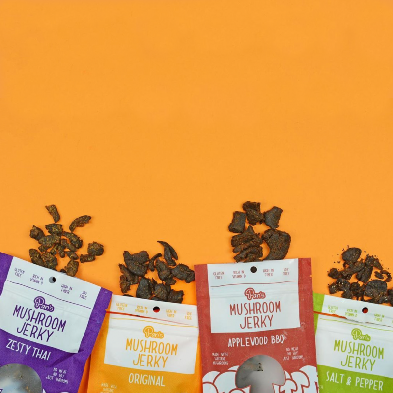 Lineup orange - Pan's Mushroom Jerky - Certified Paleo Friendly, PaleoVegan by the Paleo Foundation