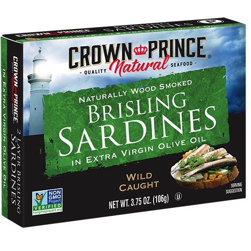 Natural One Layer Brisling Sardines in Extra Virgin Olive Oil - Crown Prince - Certified Paleo Keto Certified - Paleo Foundation