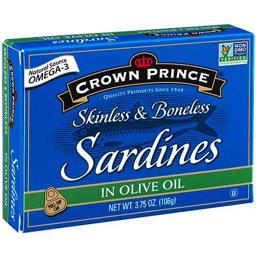 Skinless and Boneless Sardines in Olive Oil - Crown Prince - Certified Paleo Keto Certified - Paleo Foundation