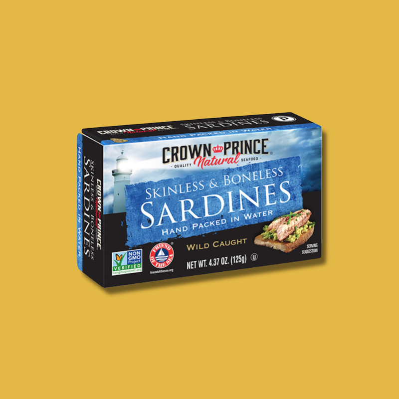 Natural Skinless & Boneless Sardines in Water 10 - Crown Prince Seafood - Certified Paleo - Paleo Foundation
