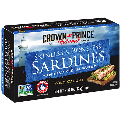 Natural Skinless and Boneless Sardines in Water - Crown Prince - Certified Paleo Keto Certified - Paleo Foundation