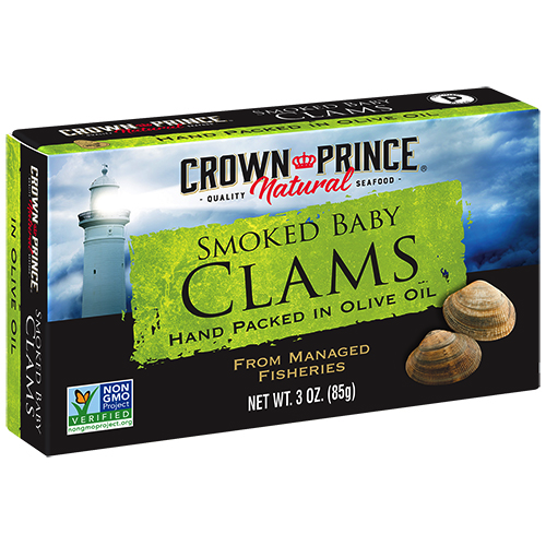 Natural Smoked Baby Clams in Olive Oil - Crown Prince Seafood - Certified Paleo - Paleo Foundation