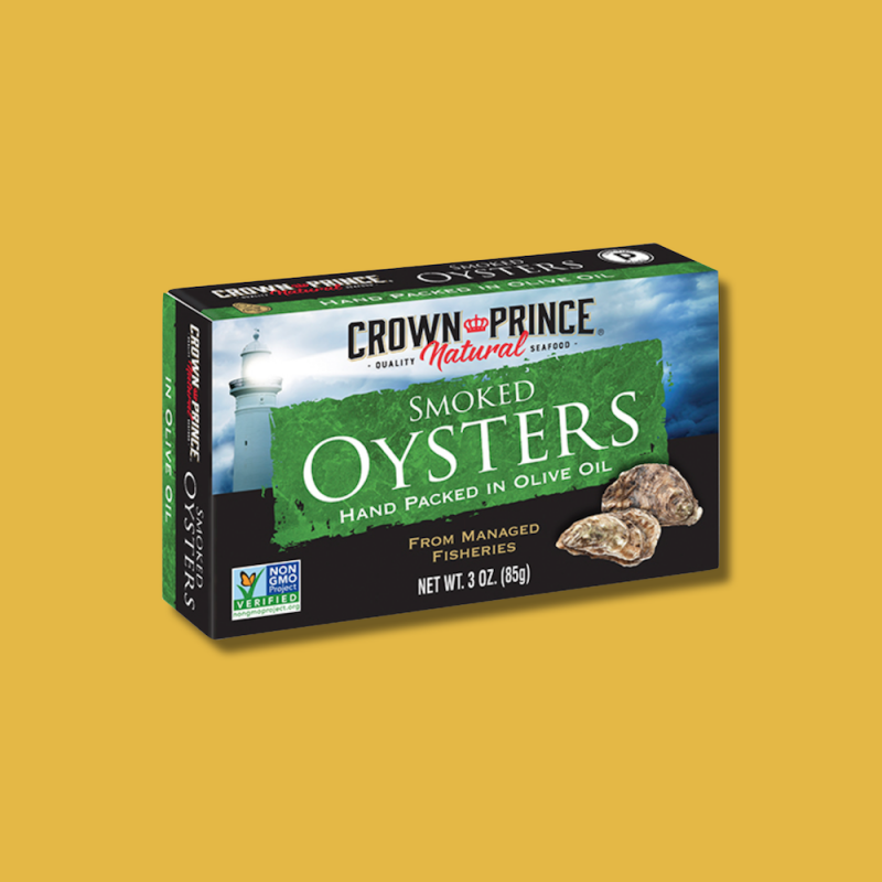 Natural Smoked Oysters in Olive Oil 10 - Crown Prince Seafood - Certified Paleo - Paleo Foundation