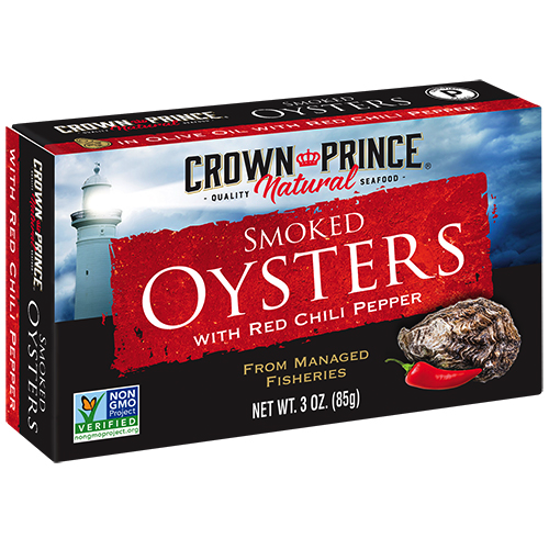 Natural Smoked Oysters with Red Chili Pepper - Crown Prince Seafood - Certified Paleo - Paleo Foundation