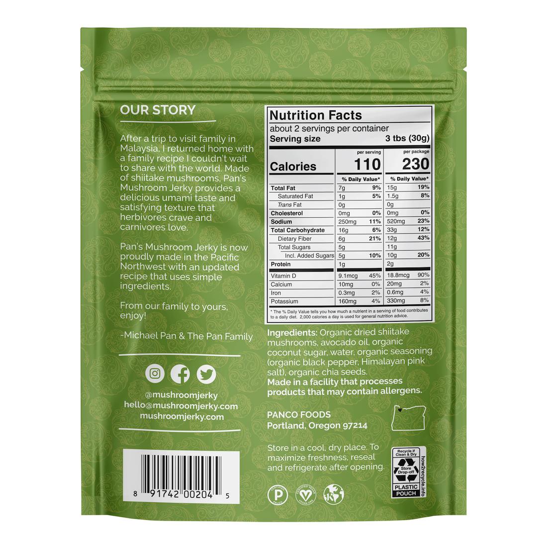 Salt & Pepper NI - Pan's Mushroom Jerky - Certified Paleo, PaleoVegan by the Paleo Foundation
