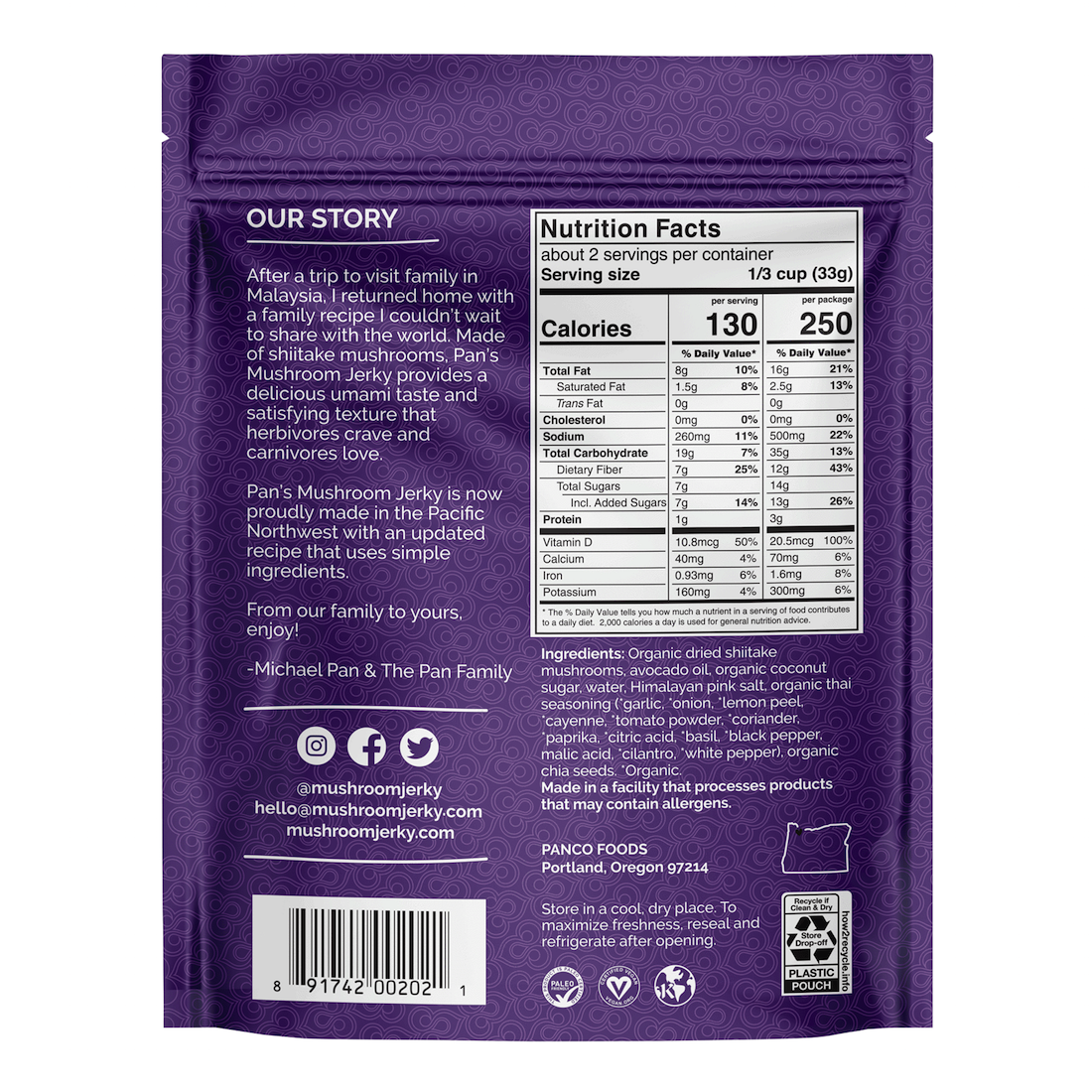 Zesty Thai NI - Pan's Mushroom Jerky - Certified Paleo Friendly, PaleoVegan by the Paleo Foundation
