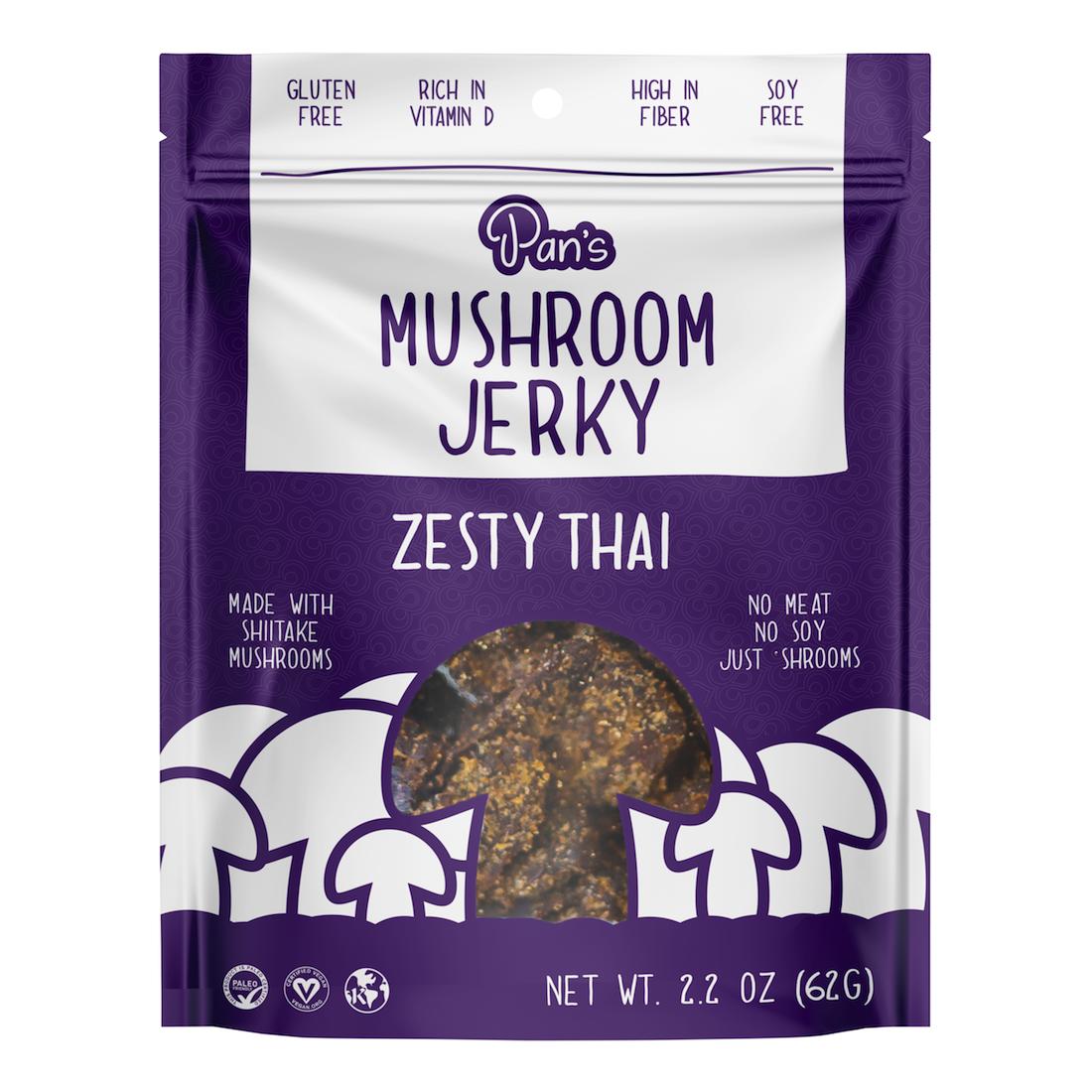 Zesty Thai - Pan's Mushroom Jerky - Certified Paleo Friendly, PaleoVegan by the Paleo Foundation