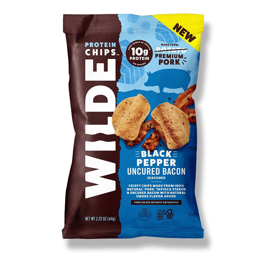 Black Pepper Bacon Pork Chips - Wilde Brands - Keto Certified by the Paleo Foundation