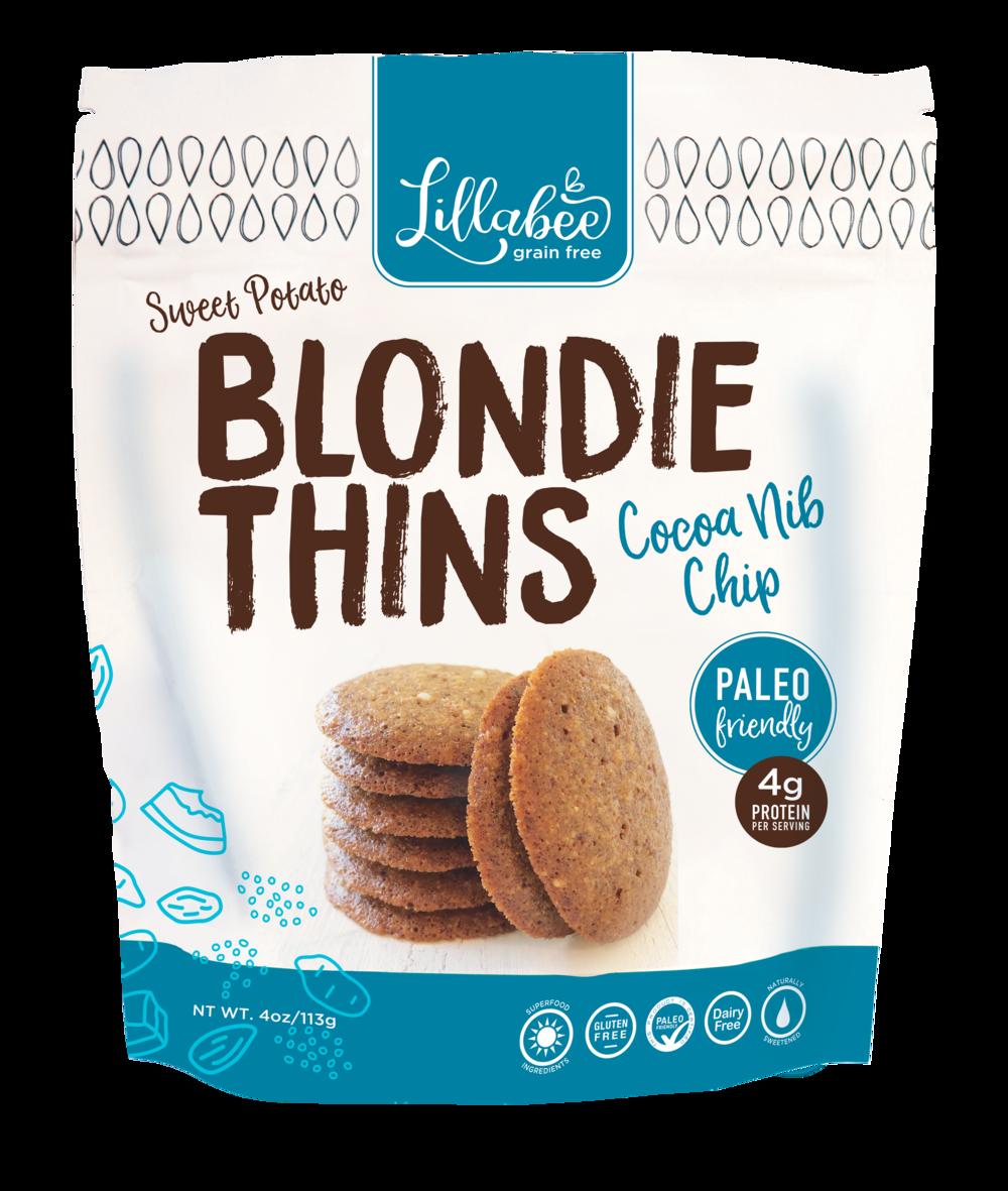Blondie Thins Cocoa Nib Chip - Lillabee Snacks - Paleo Friendly by the Paleo Foundation