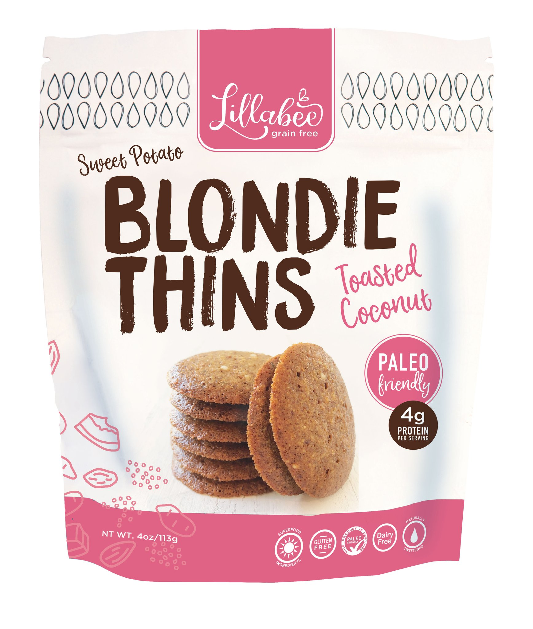 Blondie Thins Toasted Coconut - Lillabee Snacks - Paleo Friendly by the Paleo Foundation