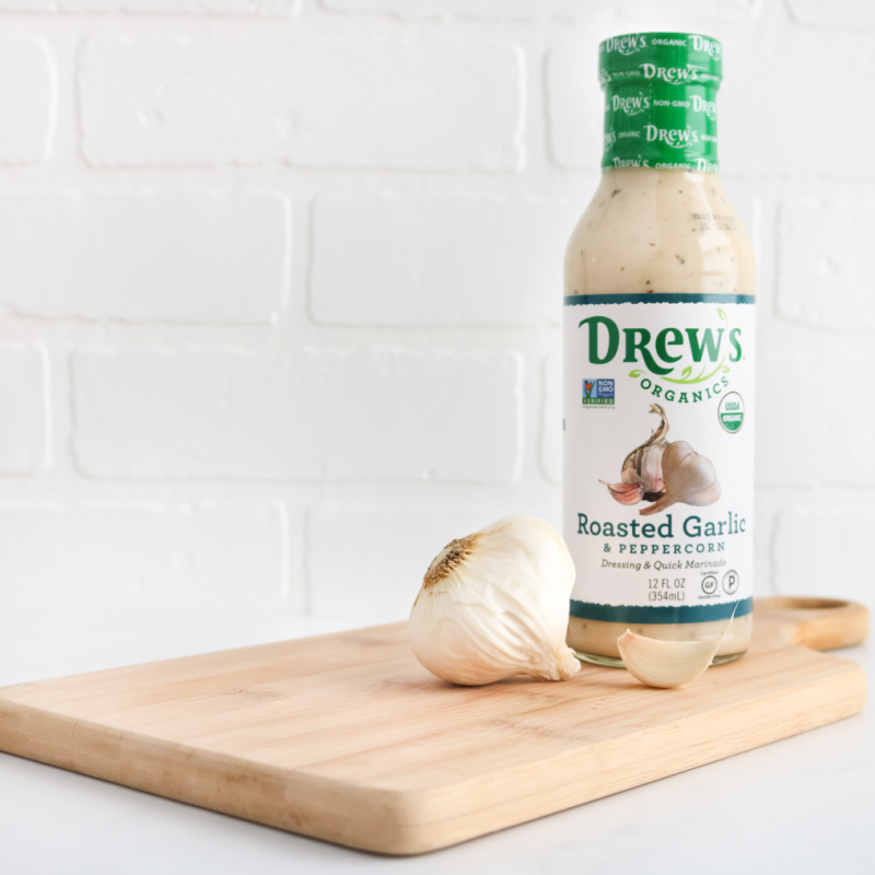 Roasted Garlic & Peppercorn Dressing & Quick Marinade 01 - Drew's Organics - Certified Paleo, Keto Certified by the Paleo Foundation