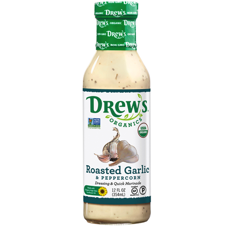 Roasted Garlic & Peppercorn Dressing & Quick Marinade - Drew's Organics - Certified Paleo, Keto Certified by the Paleo Foundation