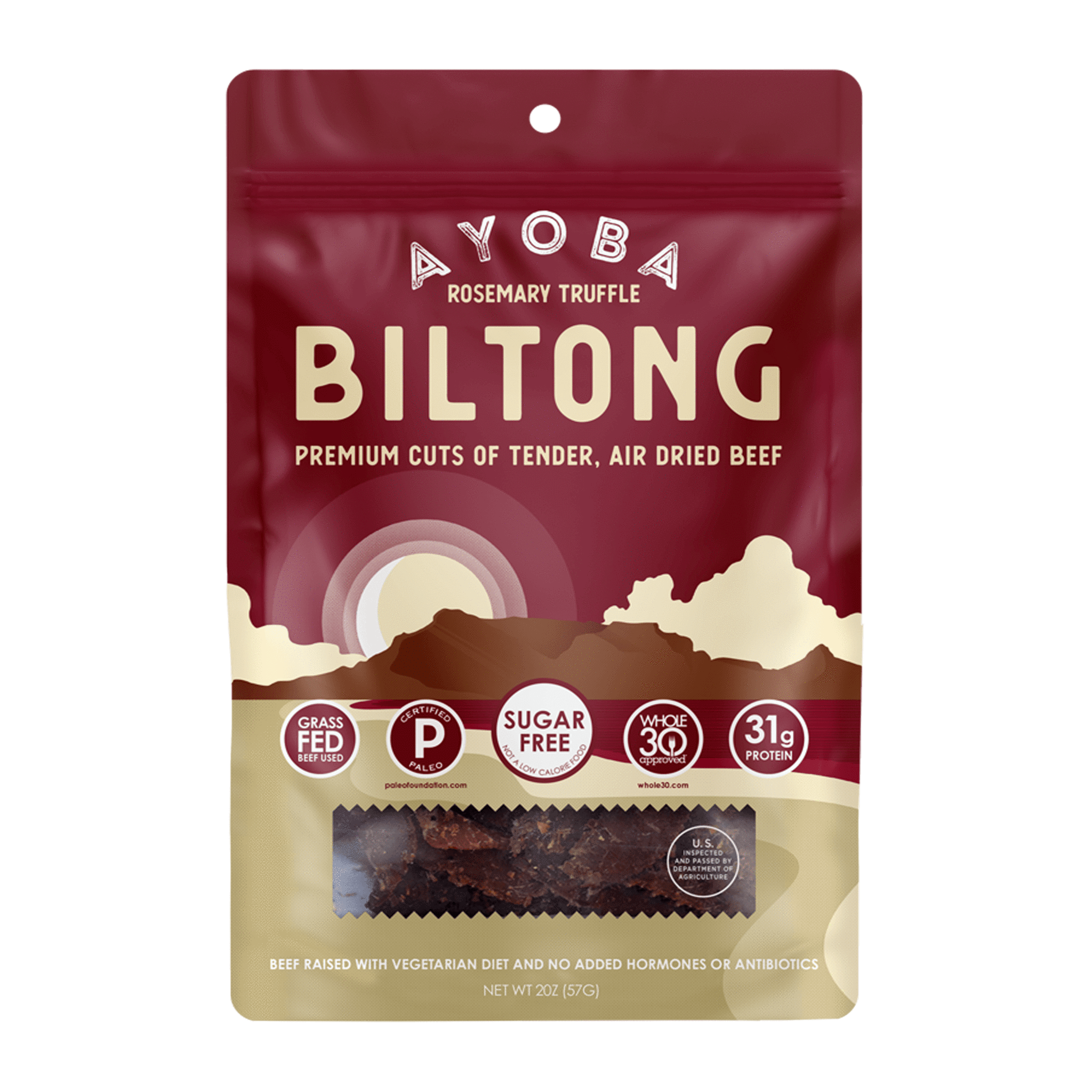 Ayoba Grass Fed Beef Biltong Rosemary Truffle - Ayoba - Certified Paleo, Keto Certified by the Paleo Foundation