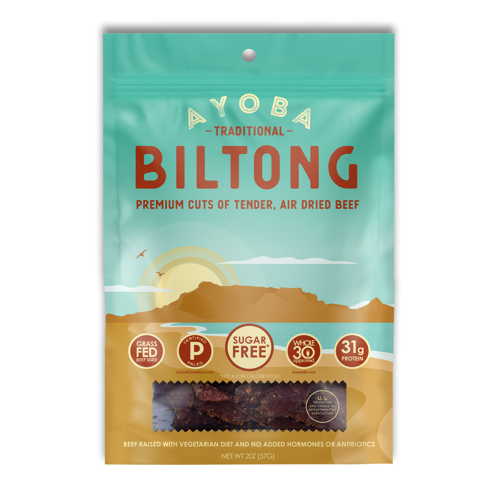 Ayoba Grass Fed Beef Biltong Traditional - Ayoba - Certified Paleo, Keto Certified by the Paleo Foundation