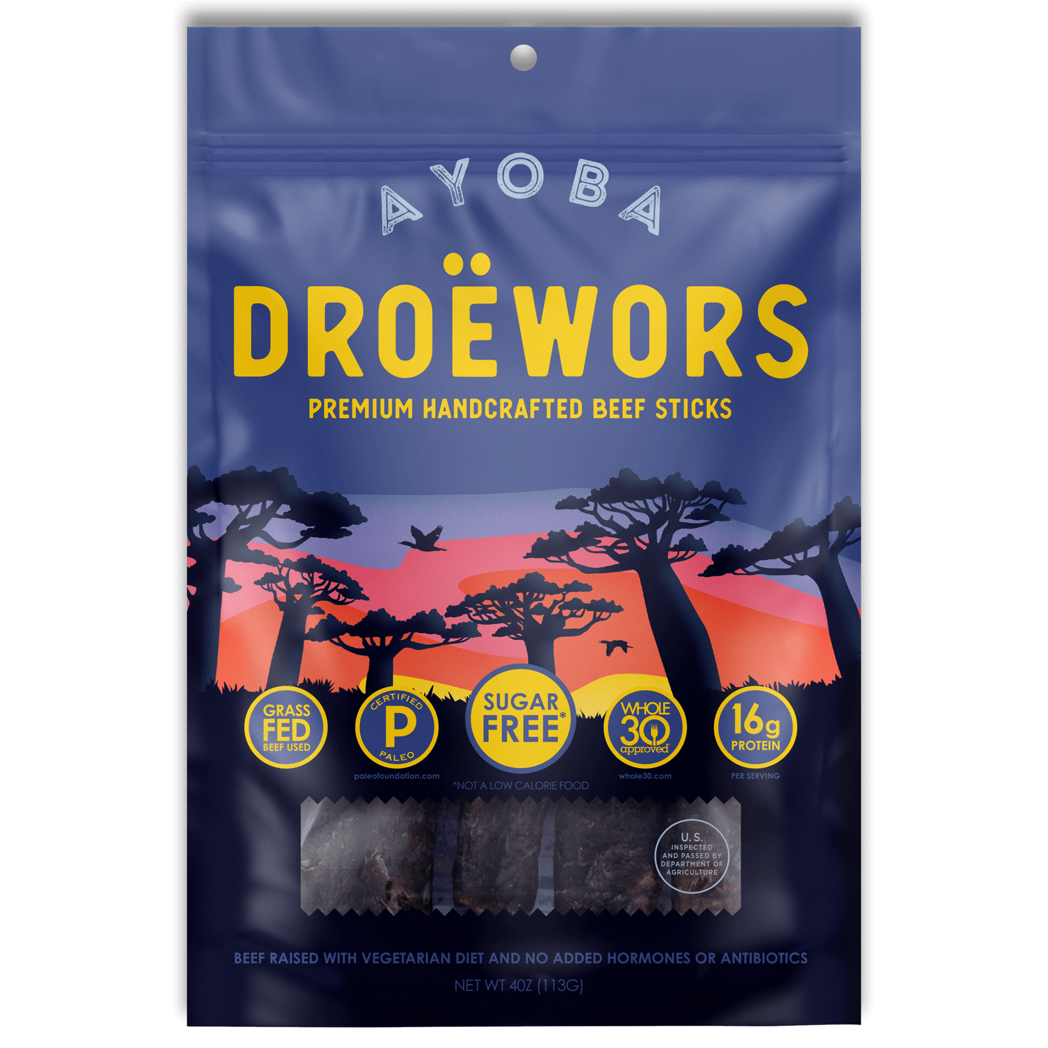 Ayoba Grass Fed Beef Droewors - Ayoba - Certified Paleo, Keto Certified by the Paleo Foundation