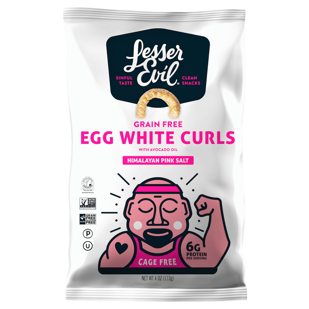 Egg White Curls - Himalayan Pink Salt - Lesser Evil Snacks - Certifed Paleo, Certified Grain Free Gluten Free by the Paleo Foundation