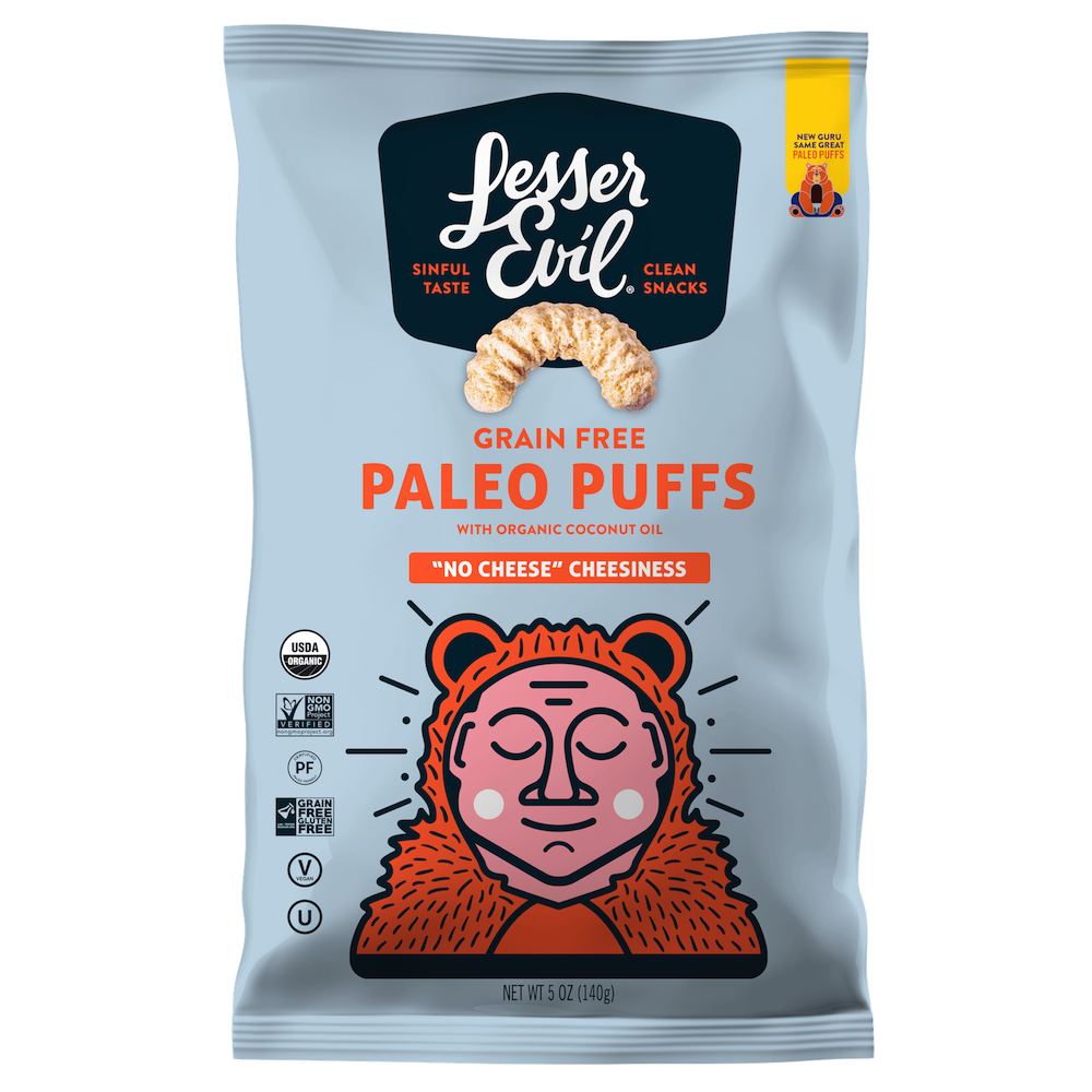 Paleo Puffs No Cheese Cheesiness - Lesser Evil Snacks - Certifed Paleo, Certified Grain Free Gluten Free by the Paleo Foundation