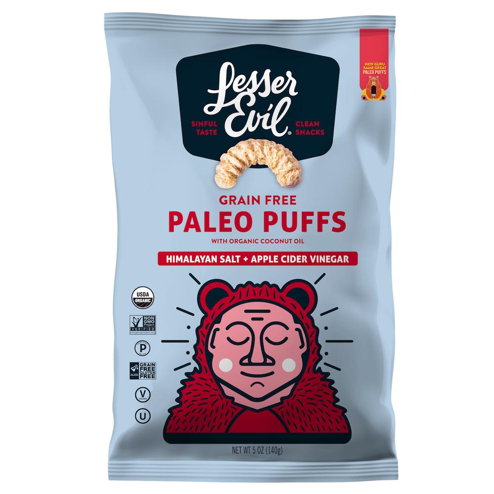 Paleo Puffs - Himalayan Salt & Apple Cider Vinegar - Lesser Evil Snacks - Certifed Paleo, Certified Grain Free Gluten Free by the Paleo Foundation