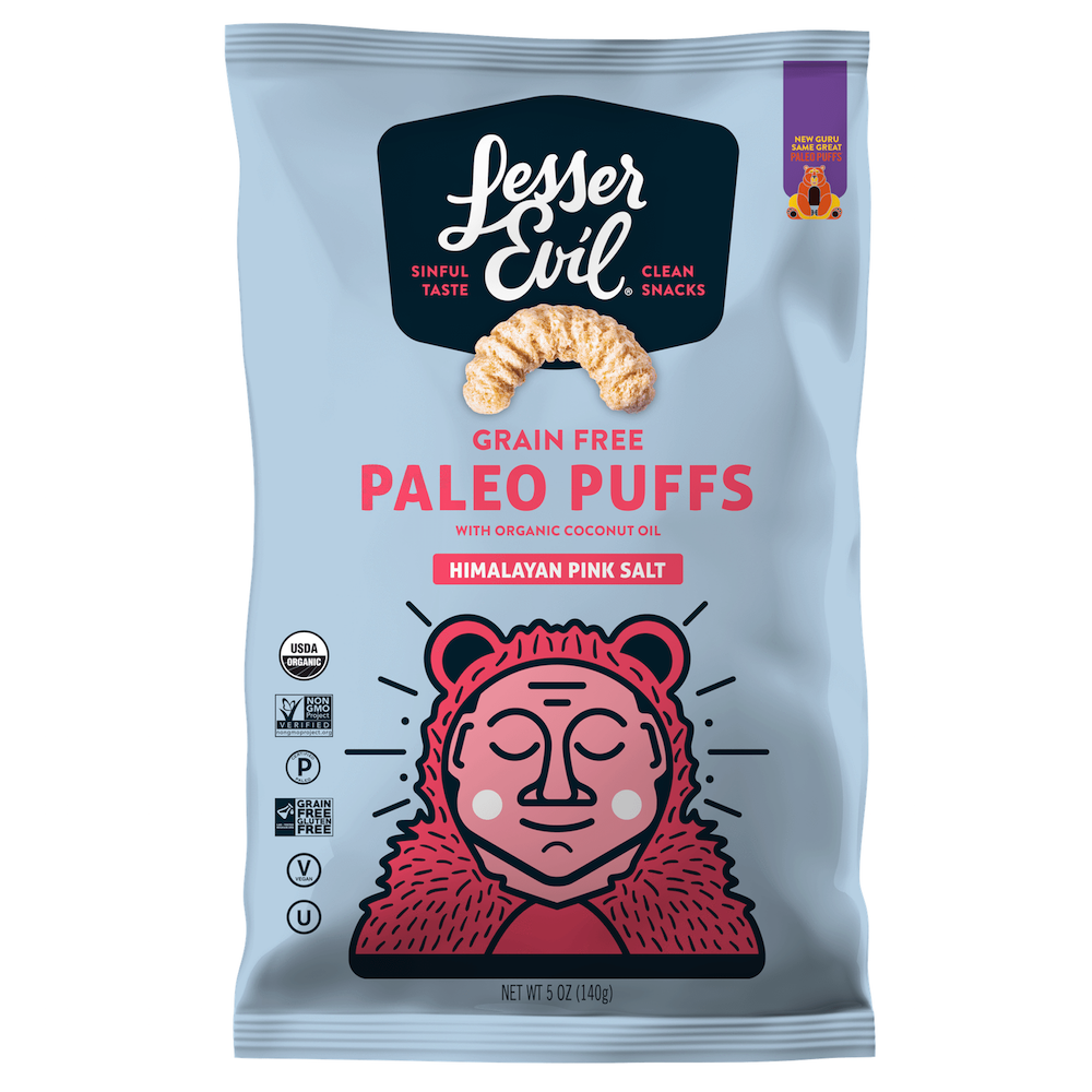 Paleo Puffs - Himalayan Salt - Lesser Evil Snacks - Certifed Paleo, Certified Grain Free Gluten Free by the Paleo Foundation