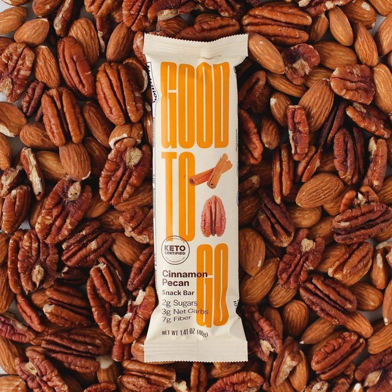 Cinnamon Pecan Snack Bar Pecan Background - GoodTo Go - KETO Certified by the Paleo Foundation
