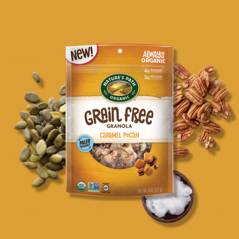 Caramel Pecan Grain Free Granola 11 - Nature's Path Foods - Paleo Friendly, KETO Certified by the Paleo Foundation