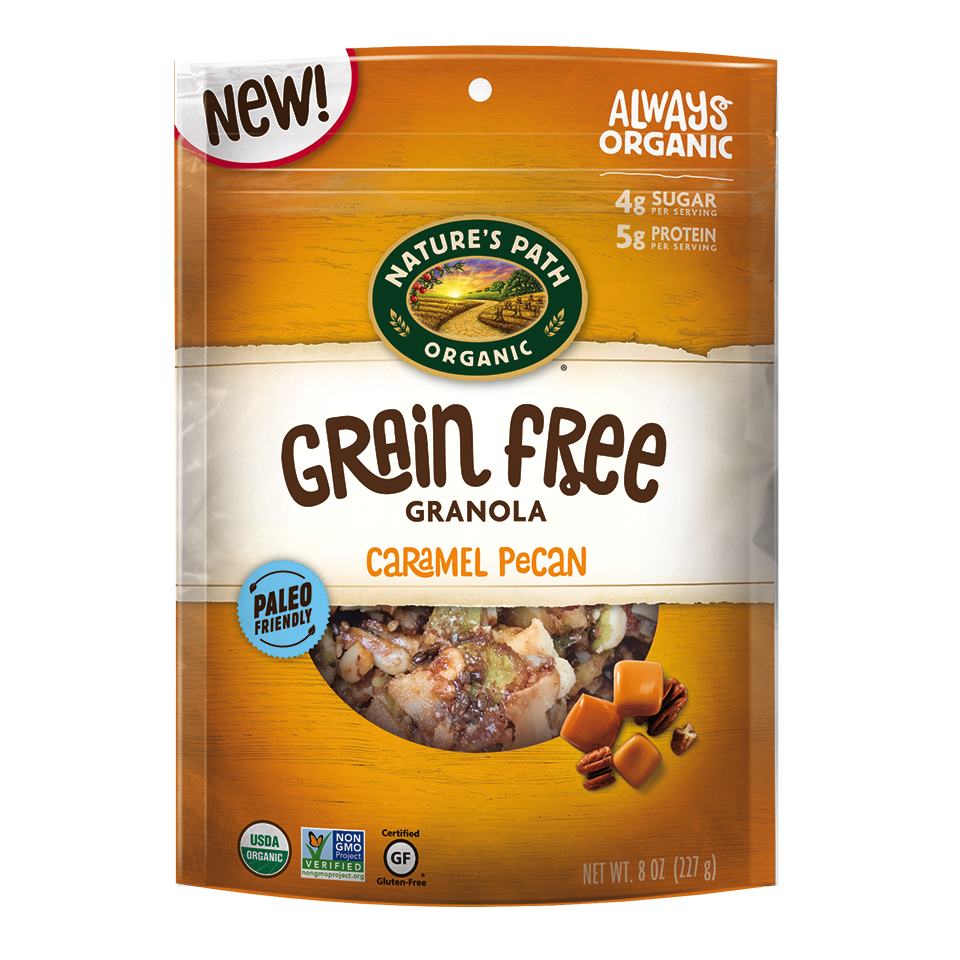 Caramel Pecan Grain Free Granola - Nature's Path Foods - Paleo Friendly, KETO Certified by the Paleo Foundation