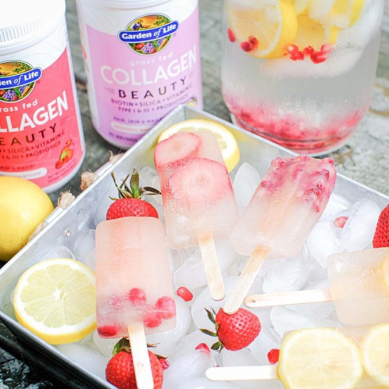 Grass Fed Collagen Beauty Strawberry Lemonade popsicles - Garden of Life - Certified Paleo, KETO Certified - Paleo Foundation