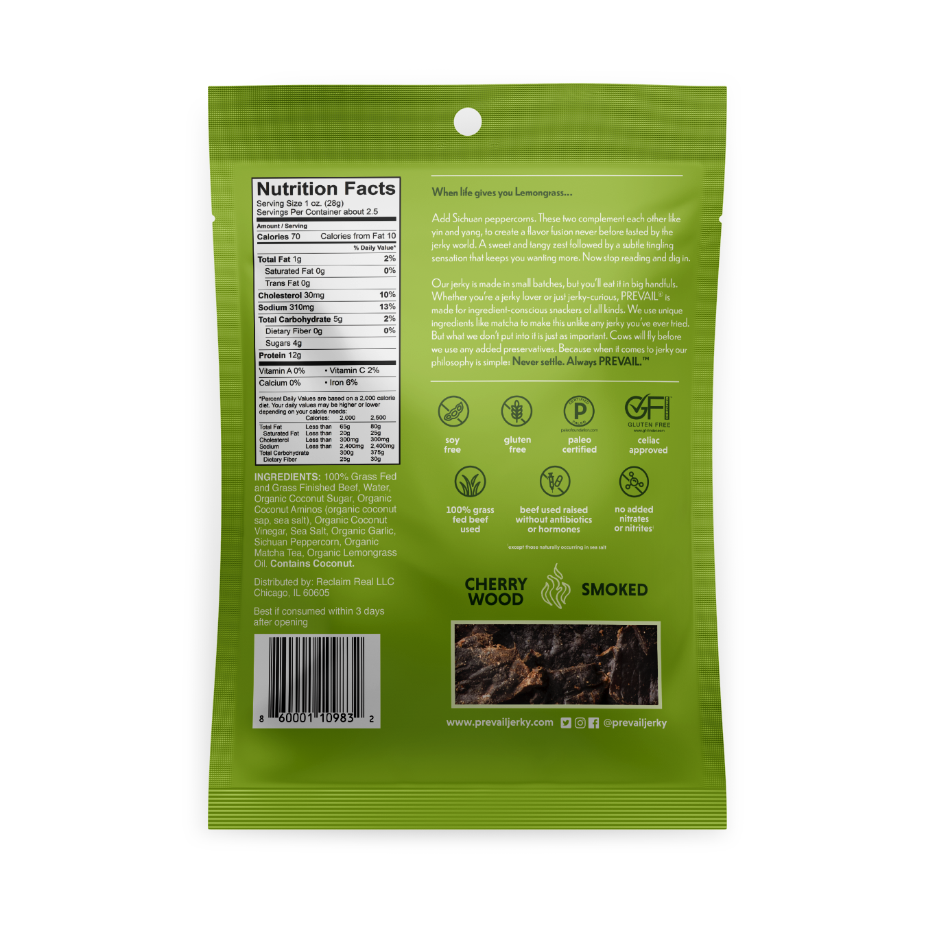 Lemongrass Flavor back panel - Prevail Jerky - Certified Paleo, KETO Certified - Paleo Foundation