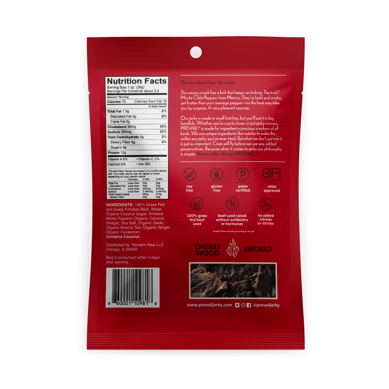 Spicy Beef Jerky back panel - Prevail Jerky - Certified Paleo, KETO Certified by the Paleo Foundation
