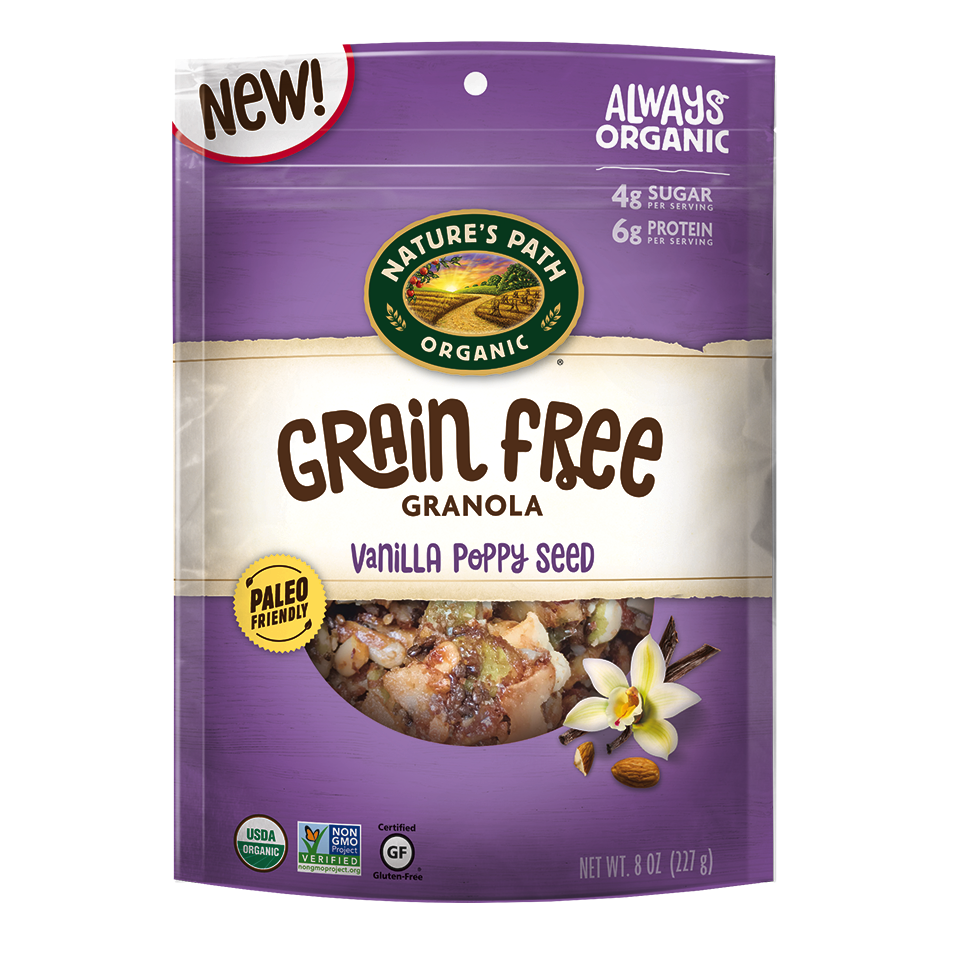 Vanilla Poppy Seed Grain Free Granola - Nature's Path Foods - Paleo Friendly, KETO Certified by the Paleo Foundation
