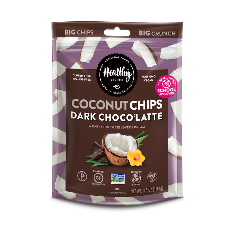 Dark Chocolate Latte Coconut Chips - The Healthy Crunch Company - Certified Paleo - Paleo Foundation