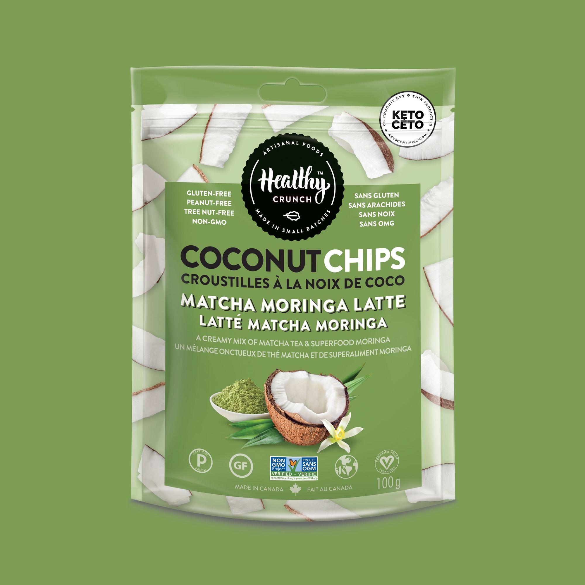 Matcha Moringa Latte Coconut Chips