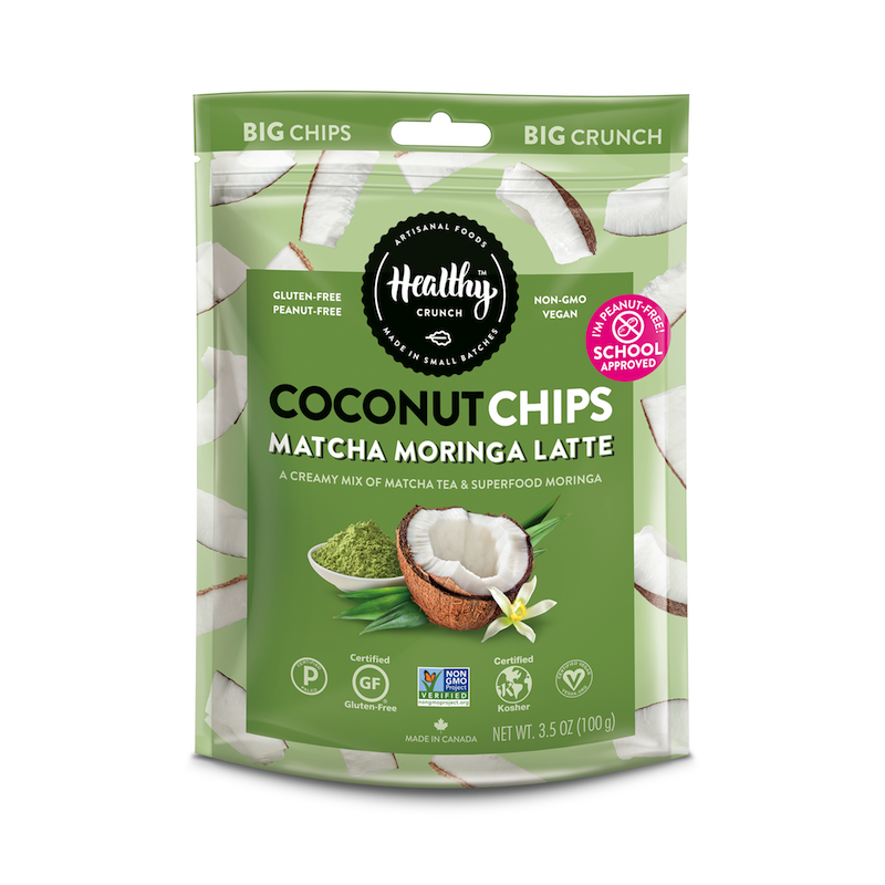 Matcha Moringa Latte Coconut Chips - The Healthy Crunch Company - Certified Paleo - Paleo Foundation