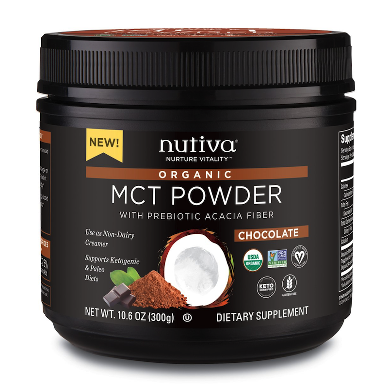 Organic MCT Powder with Prebiotic Acacia Fiber Chocolate - Nutiva - KETO Certified - Paleo Foundation