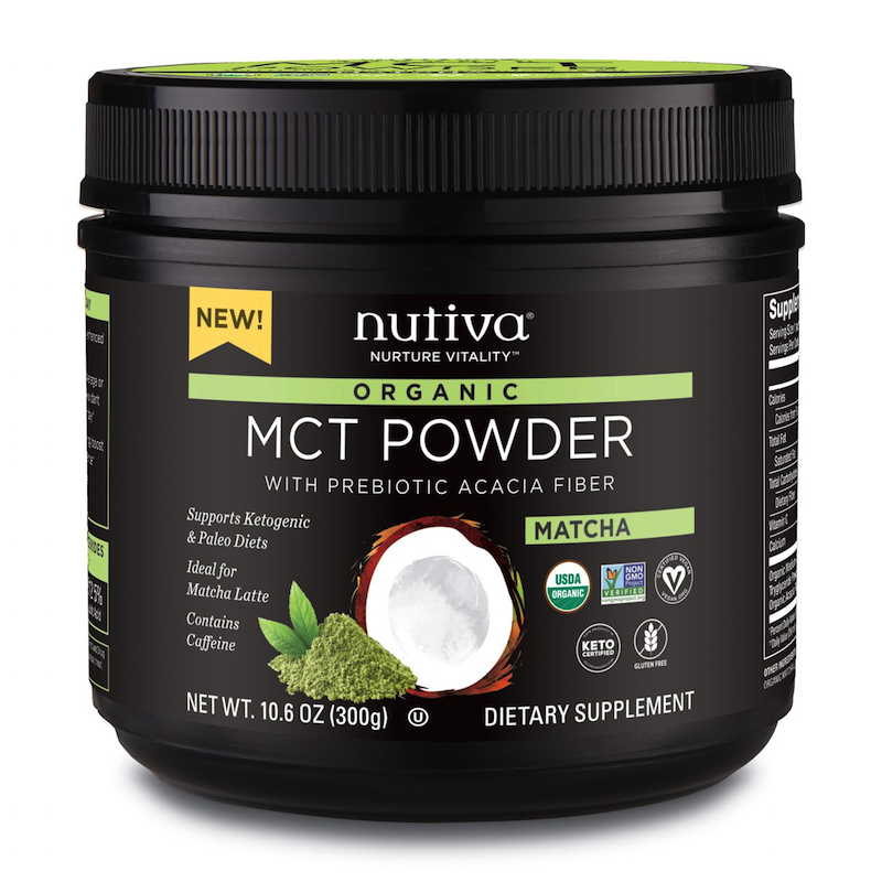 Organic MCT Powder with Prebiotic Acacia Fiber Matcha - Nutiva - Certified Paleo, KETO Certified - Paleo Foundation