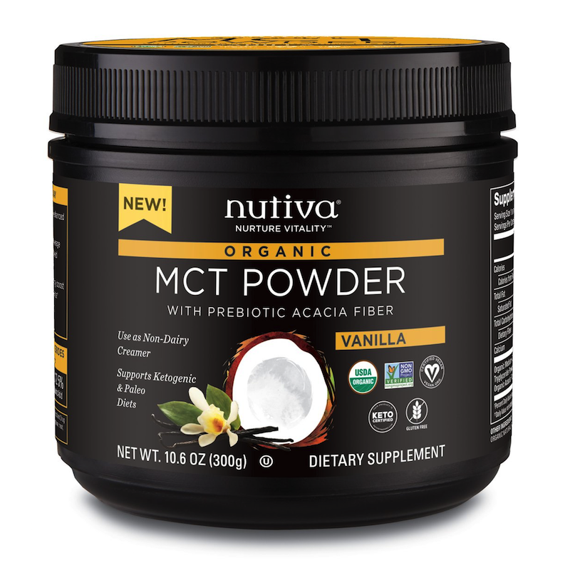 Organic MCT Powder with Prebiotic Acacia Fiber Vanilla - Nutiva - KETO Certified - Paleo Foundation