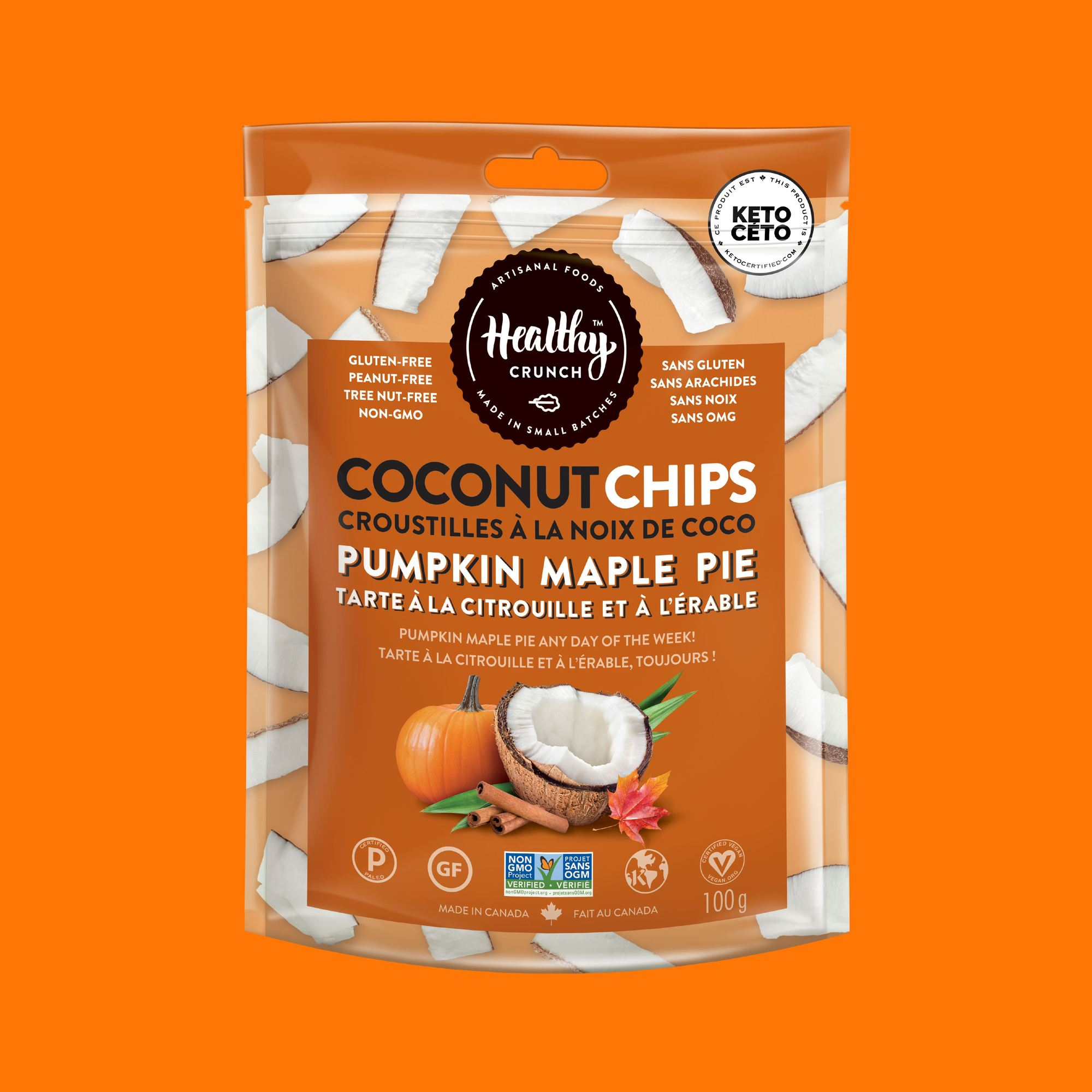 Pumpkin Maple Pie Coconut Chips
