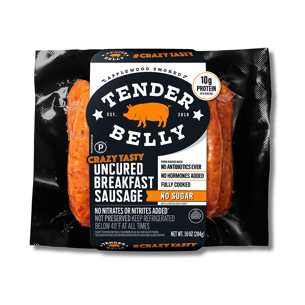 No Sugar Added Uncured Breakfast Sausage - Tender Belly - Certified Paleo Keto Certified by the Paleo Foundation
