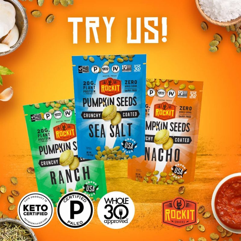Pumpkin Seeds Lineup - RockIt Snacks - Certified Paleo, Keto Certified, Grain Free, PaleoVegan by the Paleo Foundation
