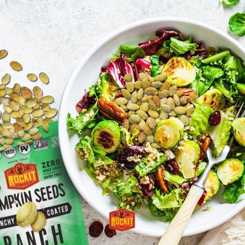 Ranch Pumpkin Seeds On Salad - RockIt Snacks - Certified Paleo, Keto Certified, Grain Free, PaleoVegan by the Paleo Foundation