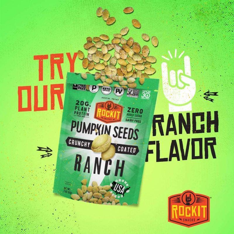 Ranch Pumpkin Seeds Promo - RockIt Snacks - Certified Paleo, Keto Certified, Grain Free, PaleoVegan by the Paleo Foundation