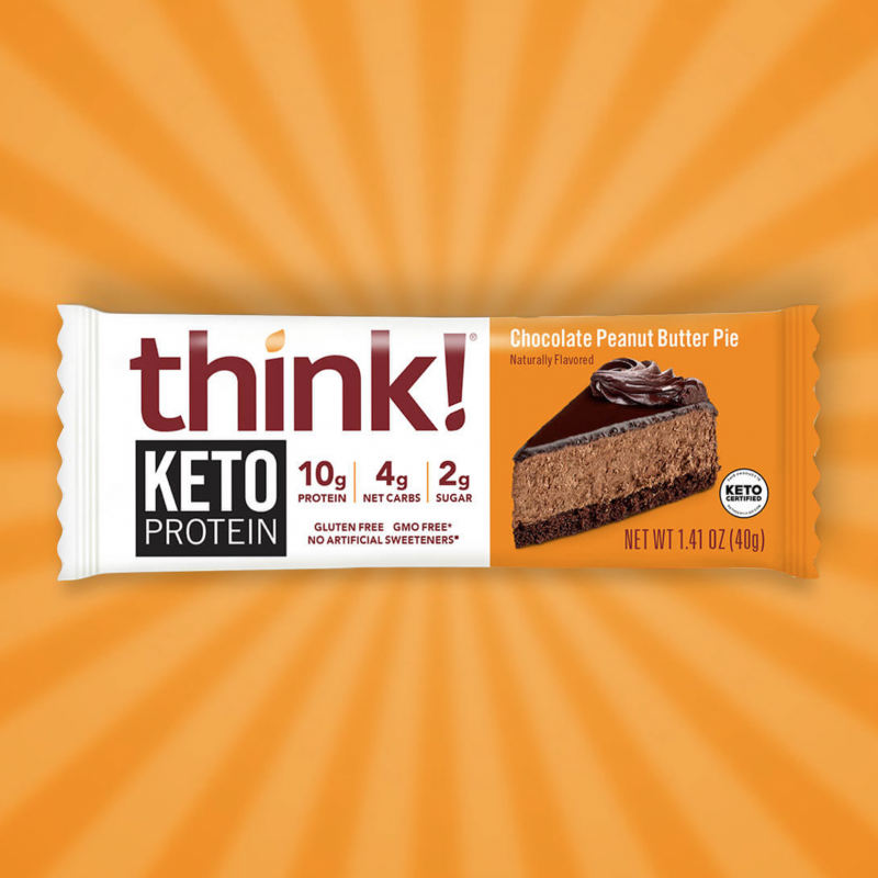 Chocolate Peanut Butter Pie Keto Bar 2 - think! - KETO Certified by the Paleo Foundation