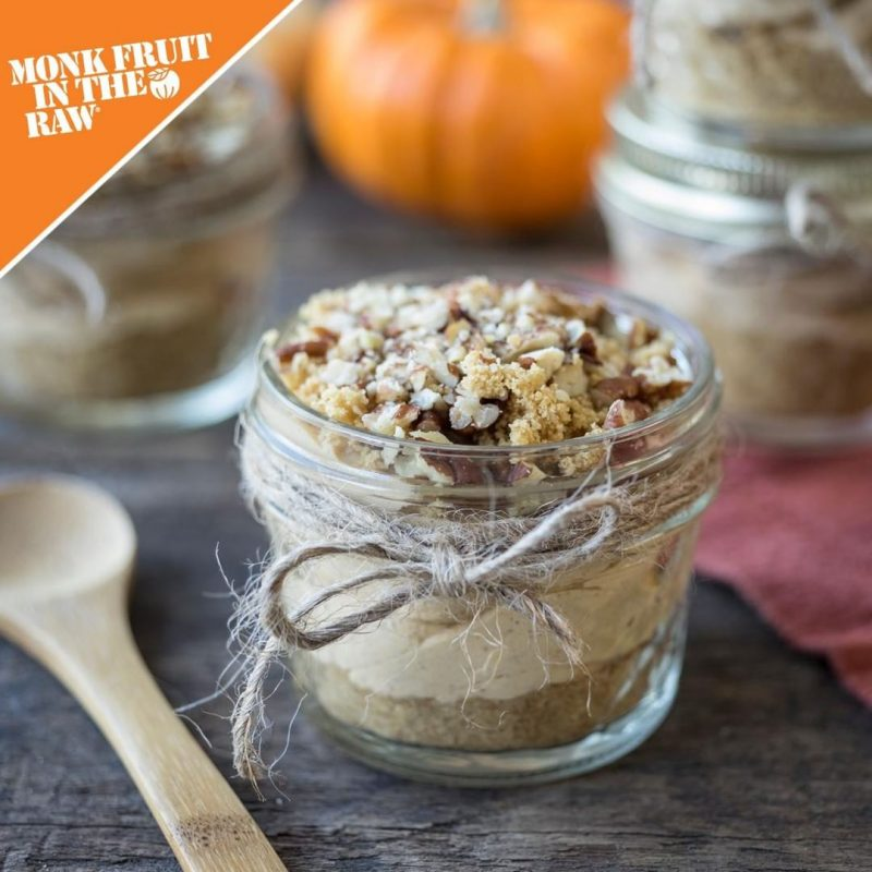 No-Bake Mason Jar Pumpkin Cheesecakes - Monk Fruit In The Raw - KETO Certified by the Paleo Foundation