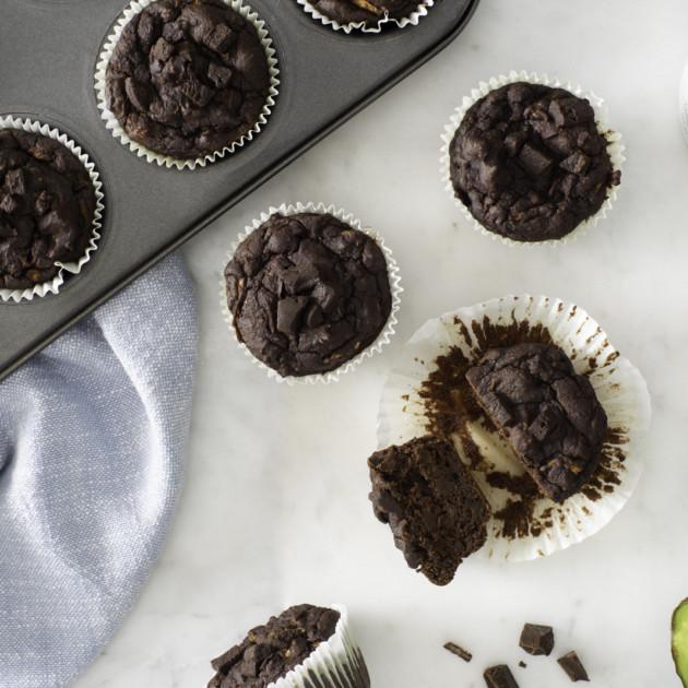 pyure organic sugar-free double chocolate avocado muffins